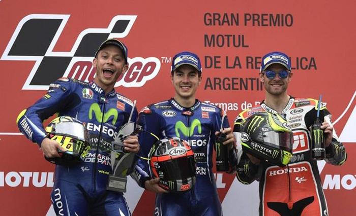 MotoGp Argentina 2017: Viñales in vetta, Rossi secondo e tante tante cadute