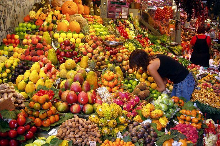 Fruit Stall in Barcelona Market 768x510