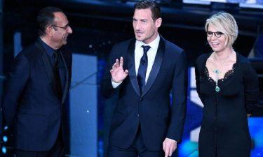 Francesco Totti con Carlo Conti e Maria De Filippi