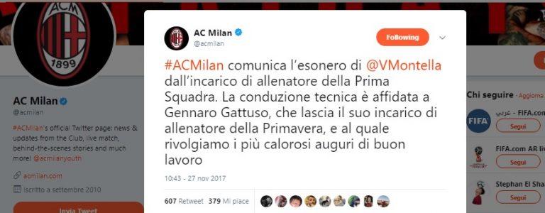 Montella esonerato dal Milan
