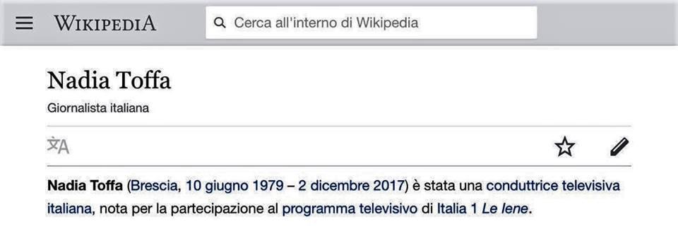Wikipedia annuncia falsamente la morte di Nadia Toffa