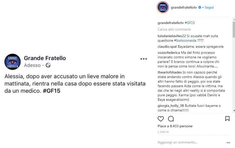 Profilo Instagram Grande Fratello