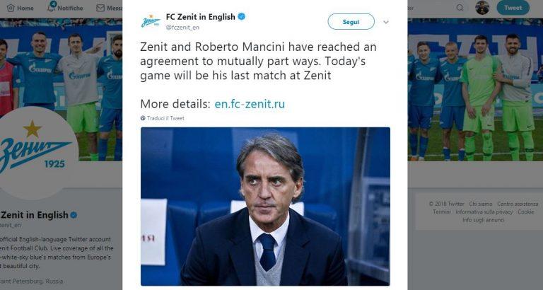 Roberto Mancini- Zenit San Pietroburgo: ufficiale la risoluzione contrattuale