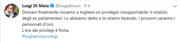Il post di Di Maio