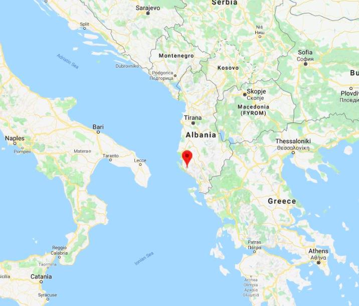L'epicentro del terremoto in Albania