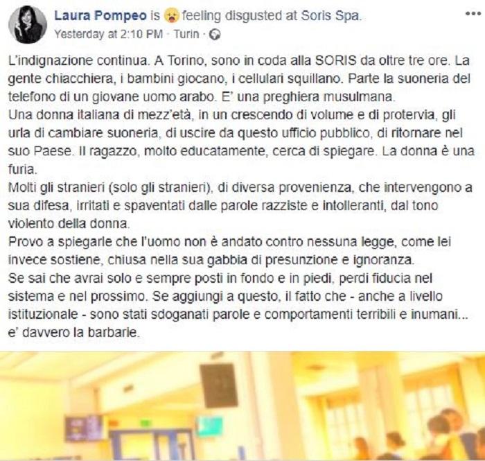 Laura Pompeo e il post razzista