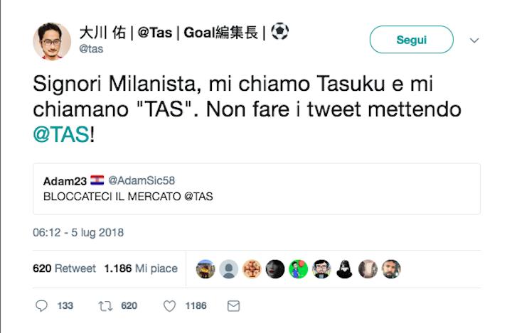 Twitter, tifosi scrivono a Tas