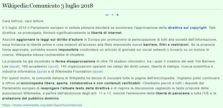 Il comunicato di Wikipedia Italia