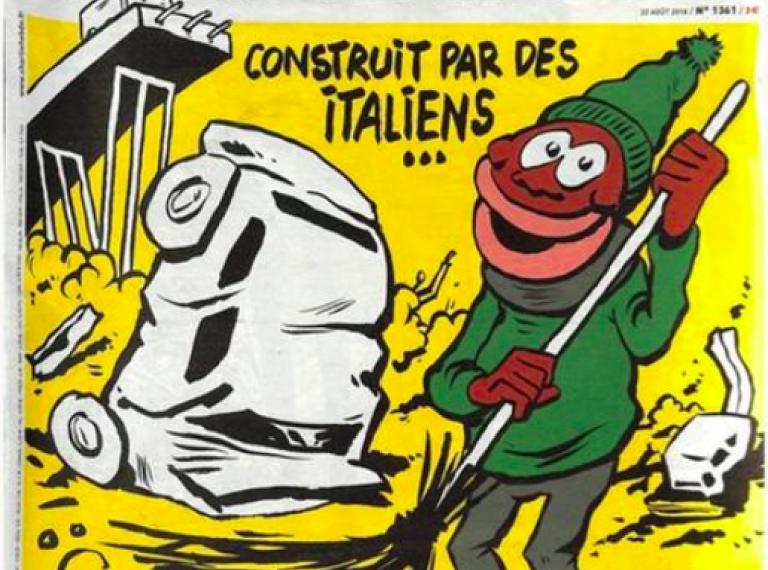 Ponte Morandi, la copertina di Charlie Hebdo