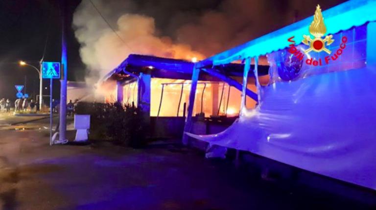 Incendio a Sonnino, provincia di Latina