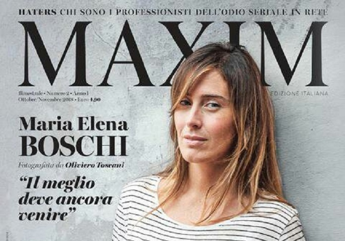 Maria Elena Boschi su Maxim: sguardi ammiccanti e capelli al vento