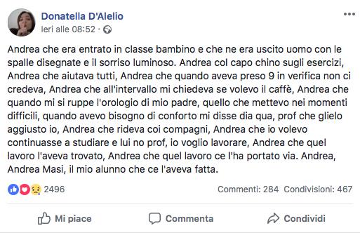 Il post della professoressa