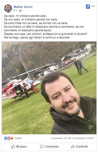 Matteo Salvini risponde alle critiche giute tramite social