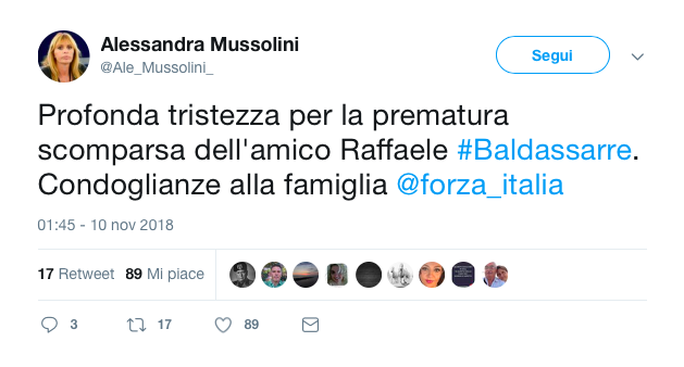 morto raffaele baldassarre forza italia