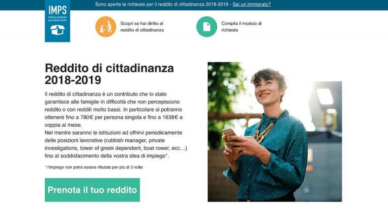 Reddito di cittadinanza, falso sito 'Imps': 500mila iscritti