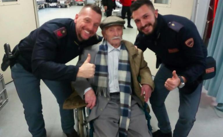 Nonno Giuseppe salvato da due poliziotti