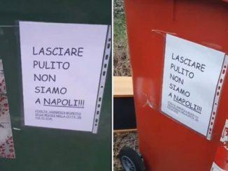 Pordenone, cartello cassonetti immondizia