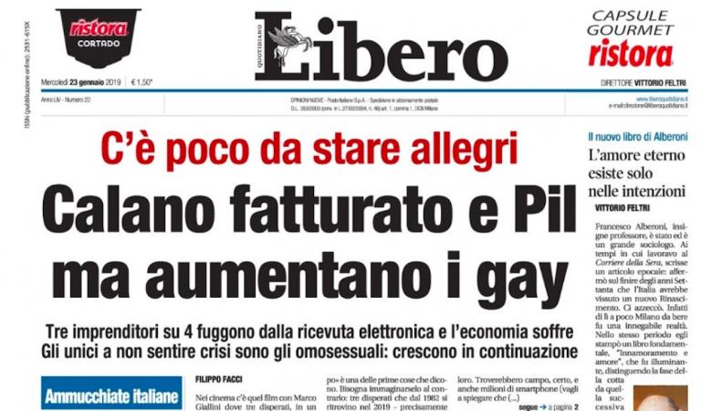 Prima pagina Libero, aumentano i gay