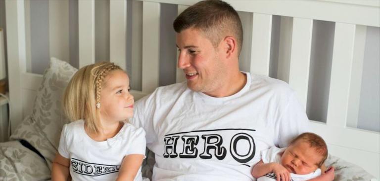 Padre malato di tumore incontra figlia neonata