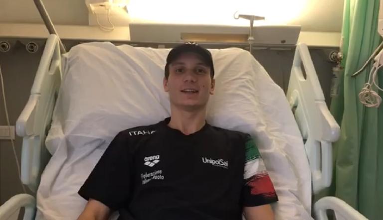 """Manuel Bortuzzo, il video dall'ospedale """"Ora inizia l'allenamento"""""""