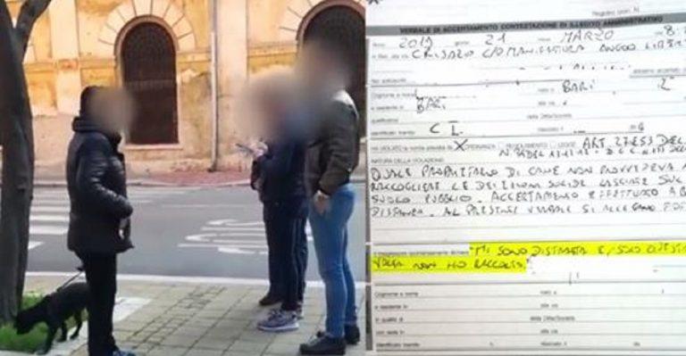 Bari, 300 euro di multa per non aver raccolto la cacca del cane