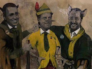 Conte, Salvini e Di Maio nel nuovo murale