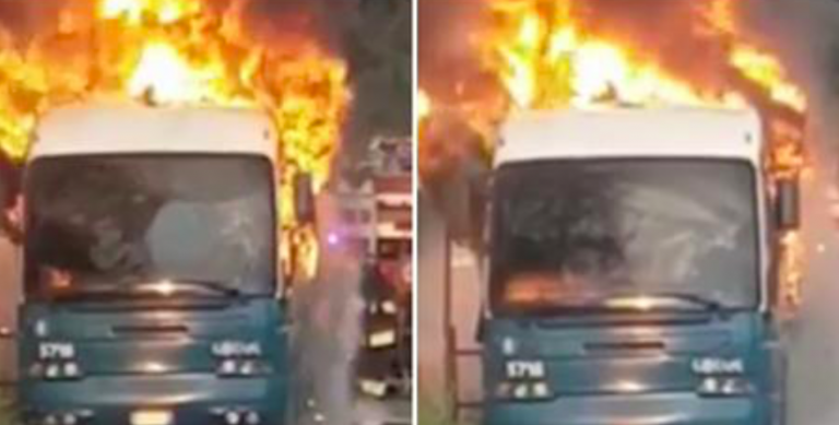 Guidonia, bus in fiamme