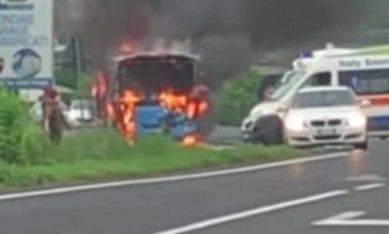 Rovigo, scuolabus in fiamme