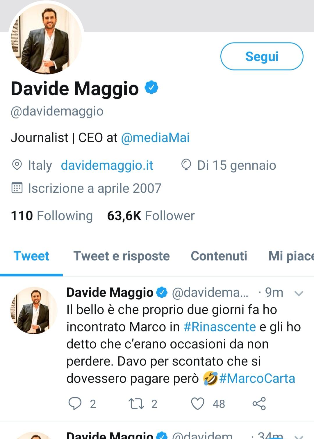 Davide Maggio su Marco Carta
