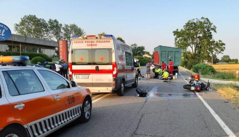 incidente moto trattore