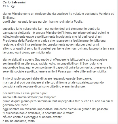 Carlo Salvemini su Facebook