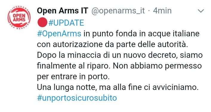 open arms tweet