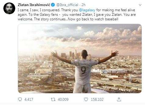 zlatan ibrahimovic lascia los angeles galaxy