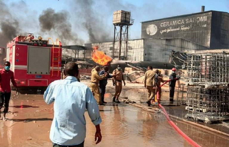 incendio fabbrica sudan