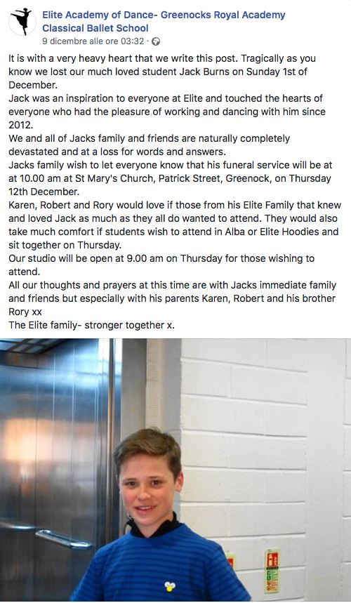 Jack Burns è morto: era stato ribattezzato il nuovo Billy El