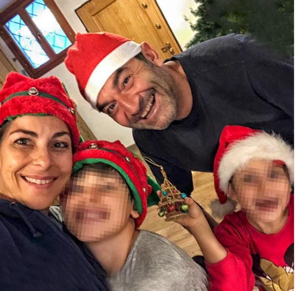 max giusti con moglie e figli