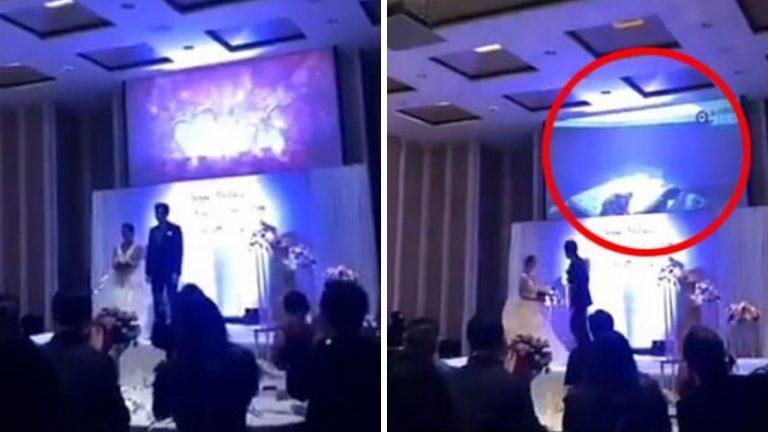 Sposo mostra il video del tradimento della sposa durante il matrimonio
