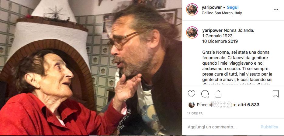 """Yari Carrisi, ricorda nonna Jolanda: """"Un anno difficile"""""""
