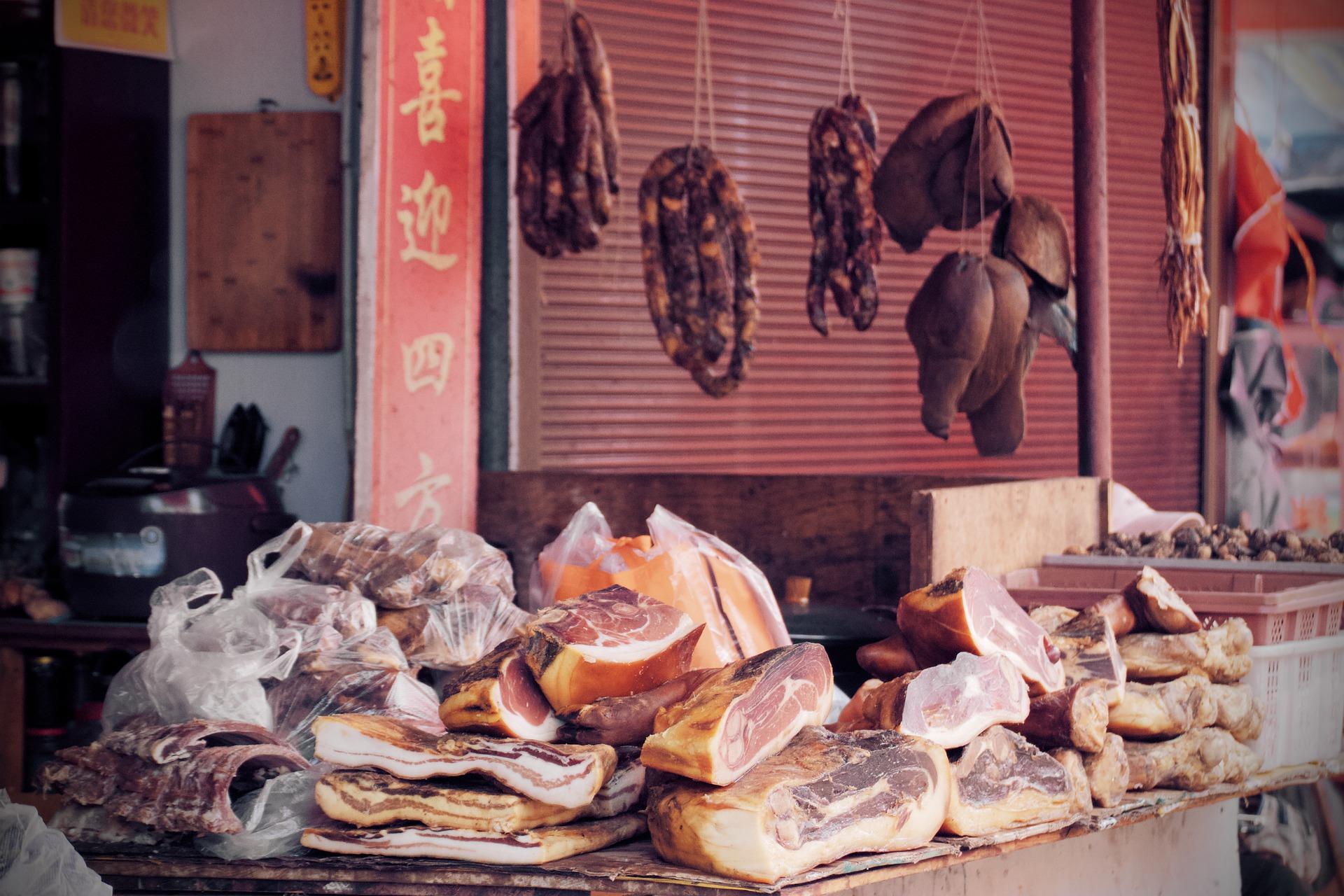 Cina, mercato della carne