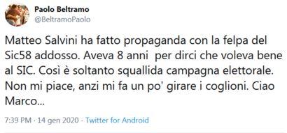 Paolo Beltramo su Salvini