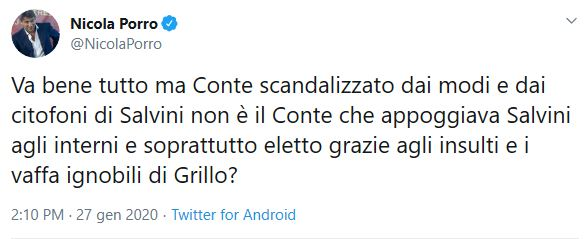 """Porro: """"Conte scandalizzato per Salvini? Lui eletto con i va"""