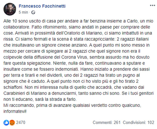 Coronavirus, Francesco Facchinetti difende cinese dai bulli: