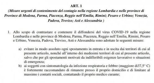 Bozza decreto coronavirus