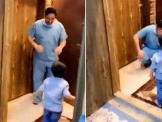 Coronavirus, il video del medico che rifiuta l'abbraccio del figlio