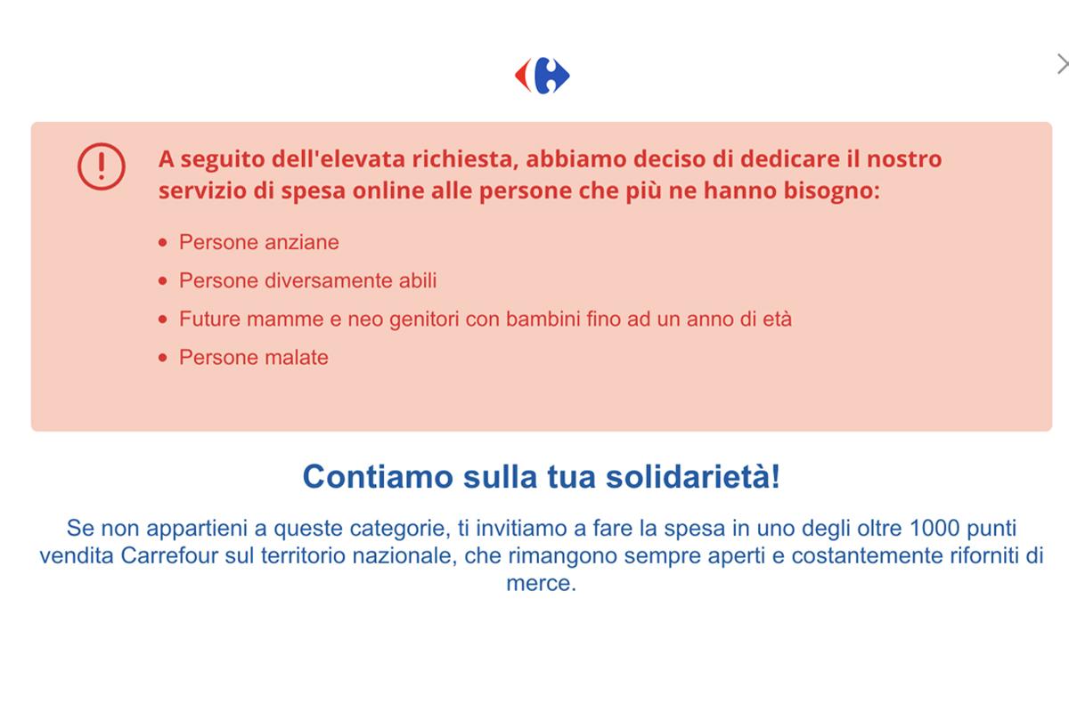 coronavirus spesa online Carrefour