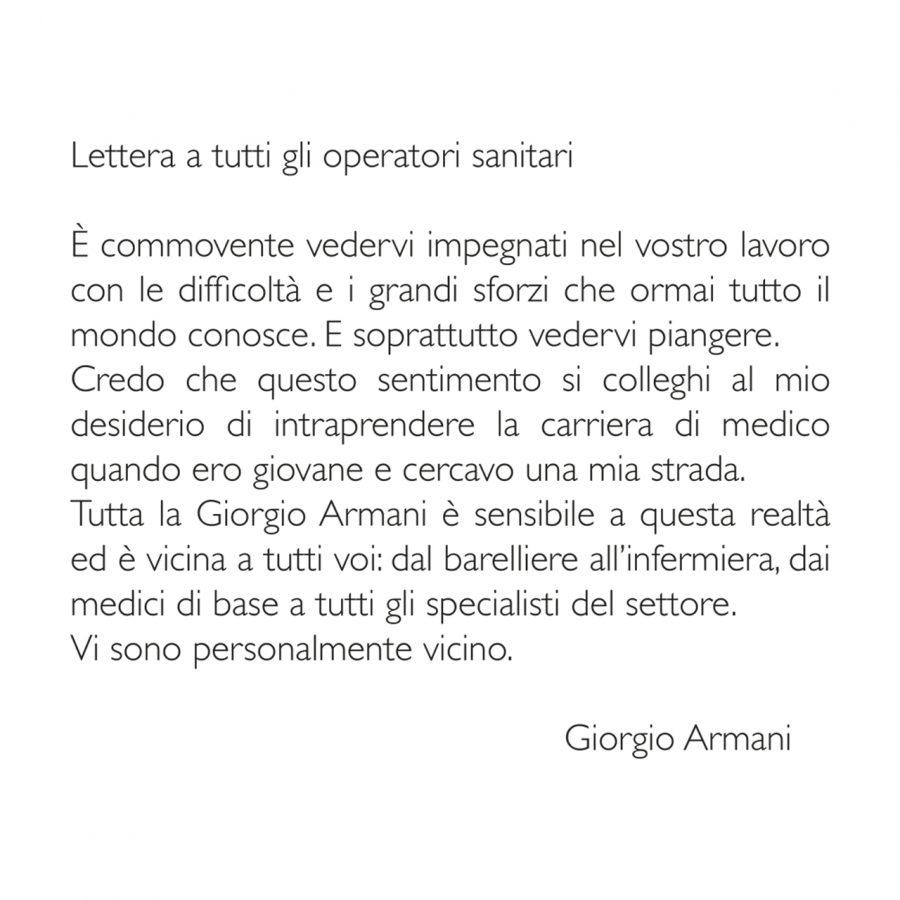 lettera Giorgio Armani Coronavirus