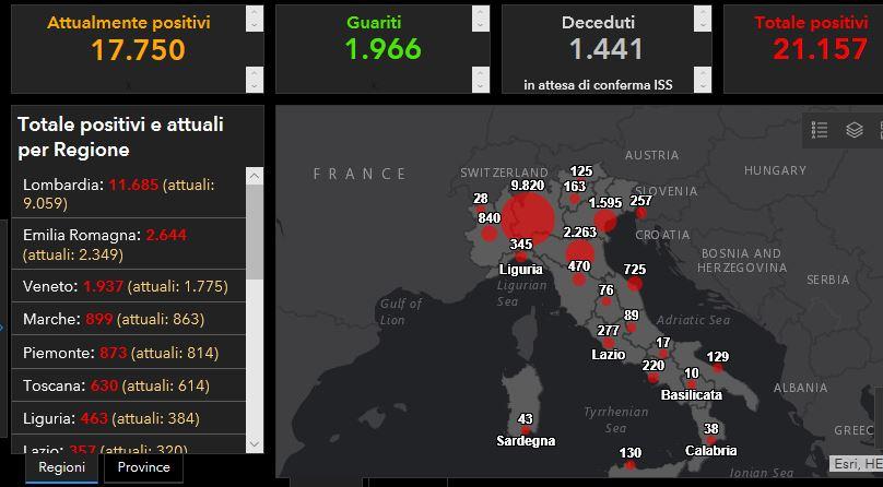 Mappa contagi 14 marzo