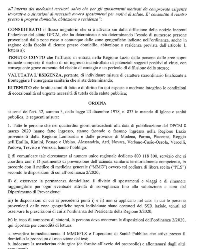 Ordinanza Regione Lazio