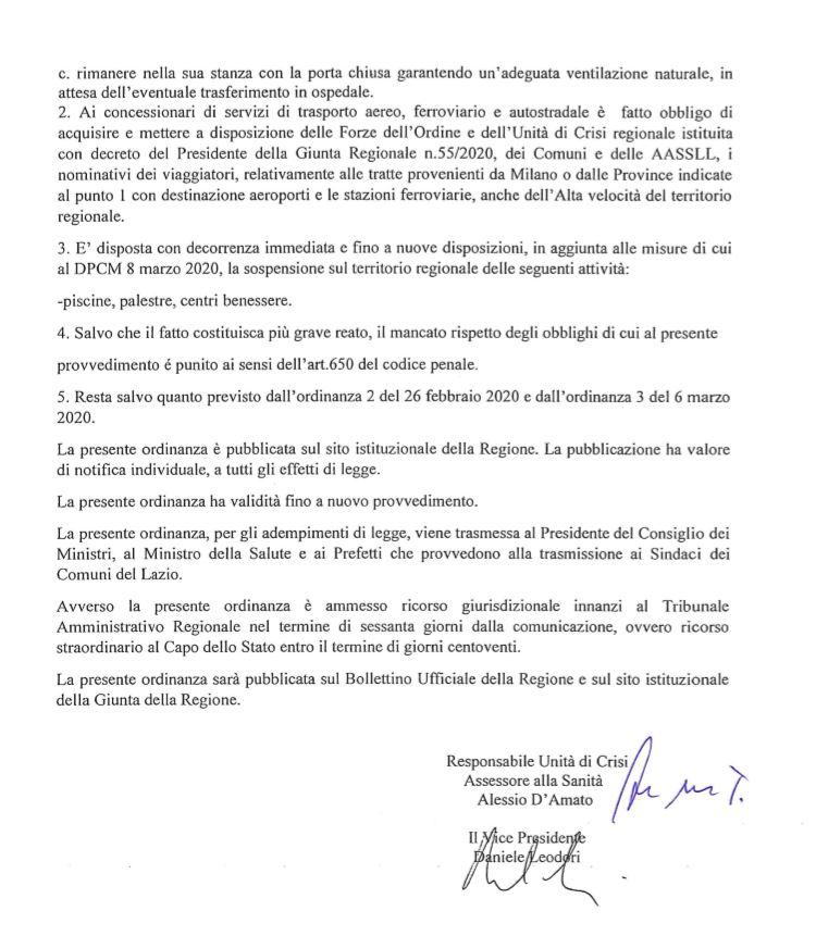 Ordinanze Regione Lazio