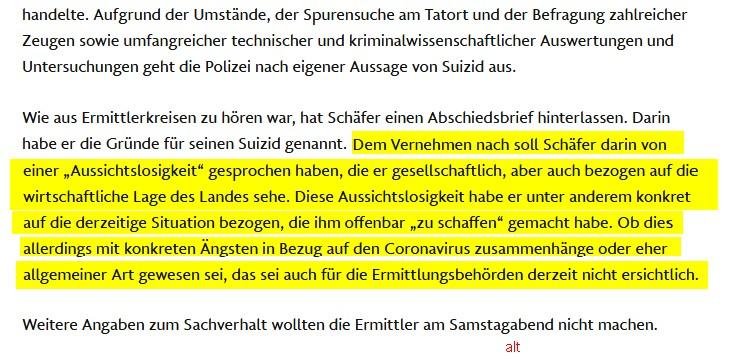 Schäfer, la lettera di addio